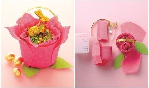 Crepe Paper Rose Basket