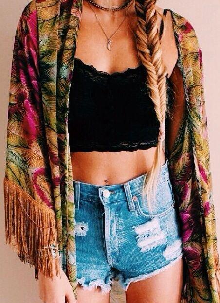 Colorful Fringe Kimono