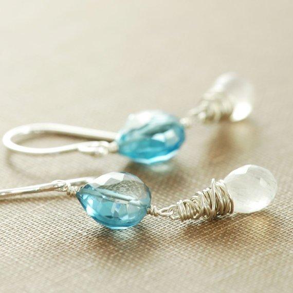 Blue Topaz and Moonstone Earrings