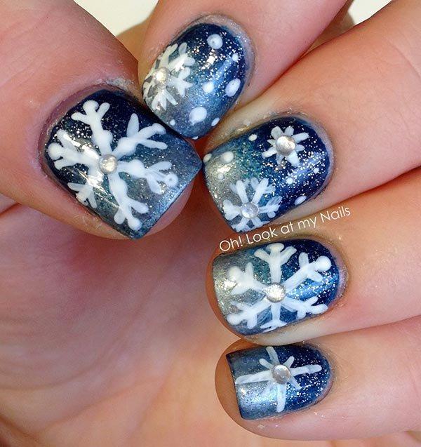 Snowflake Nail Design For Short Nails 101 Nail Art Inspos