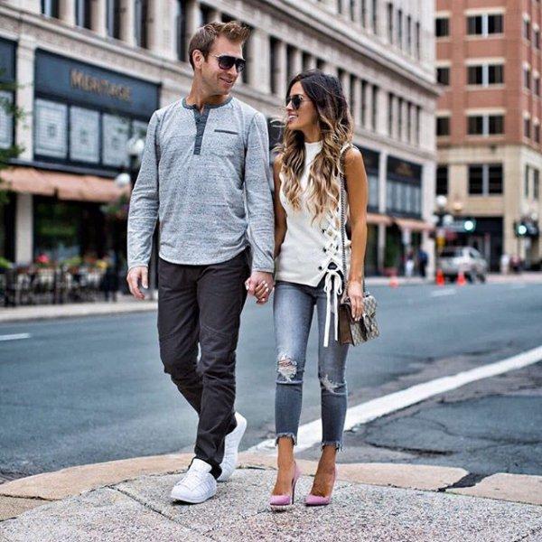 road, clothing, street, denim, footwear,