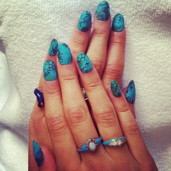 turquoise, nail, finger, acrylic paint, cosmetics,