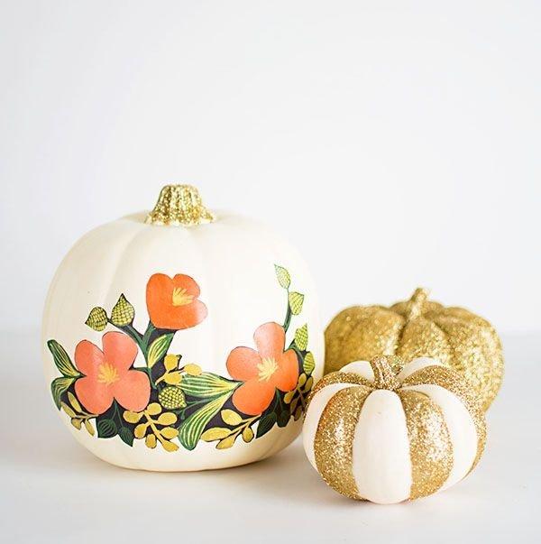 Floral Glitter Pumpkins