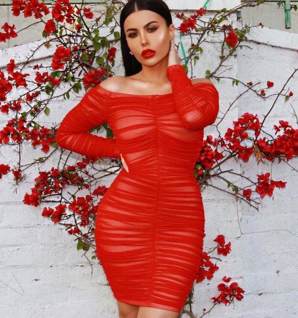 red, fashion model, joint, shoulder, dress,
