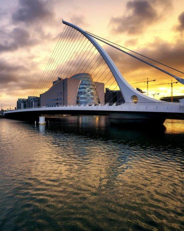 bridge, reflection, waterway, sky, water,