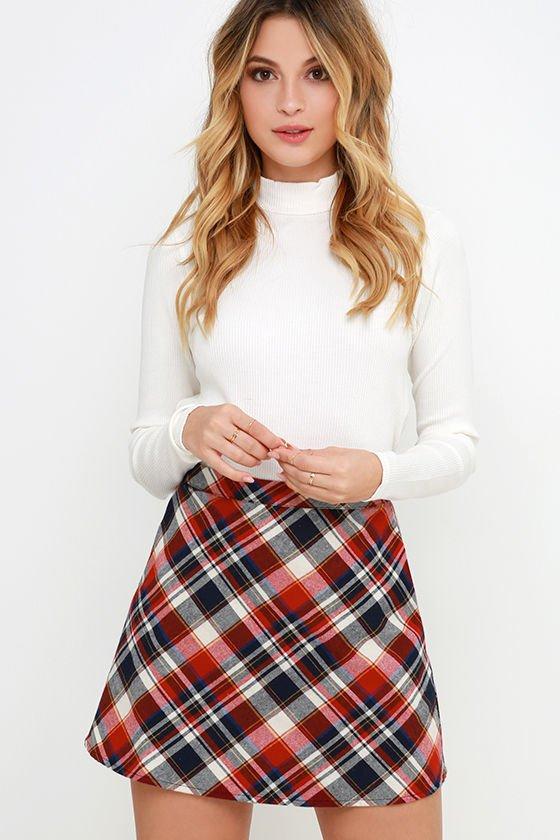 Sweet and Tartan Red Plaid Mini Skirt