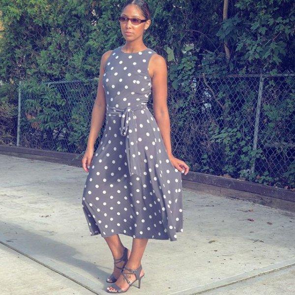 clothing, dress, polka dot, fashion model, pattern,