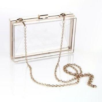 Masione Luxury Handbag Transparent Rectangle Clear Evening Clutch