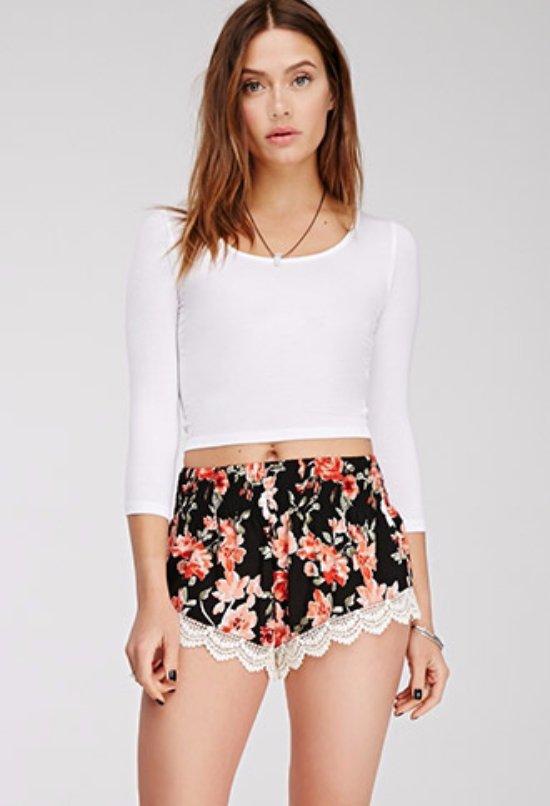 Crochet-Hem Floral Print Shorts