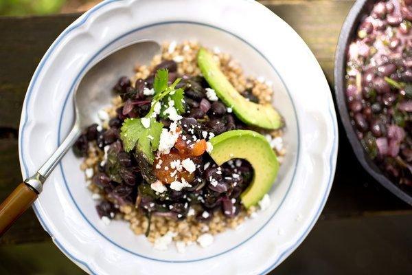 Sorghum Bowl with Black Beans, Amaranth and Avocado