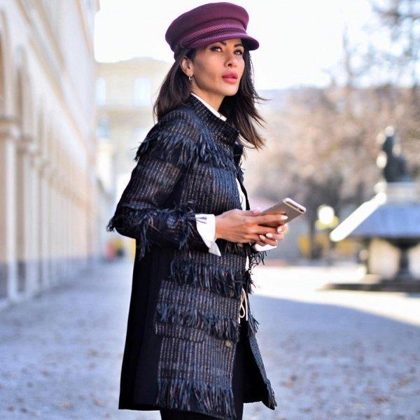 coat, headgear, fashion, outerwear, socialite,