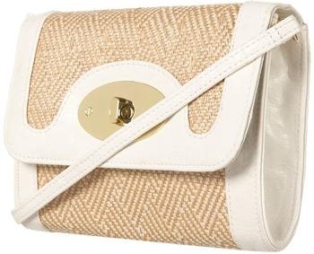 Topshop White Straw Twist Lock Bag