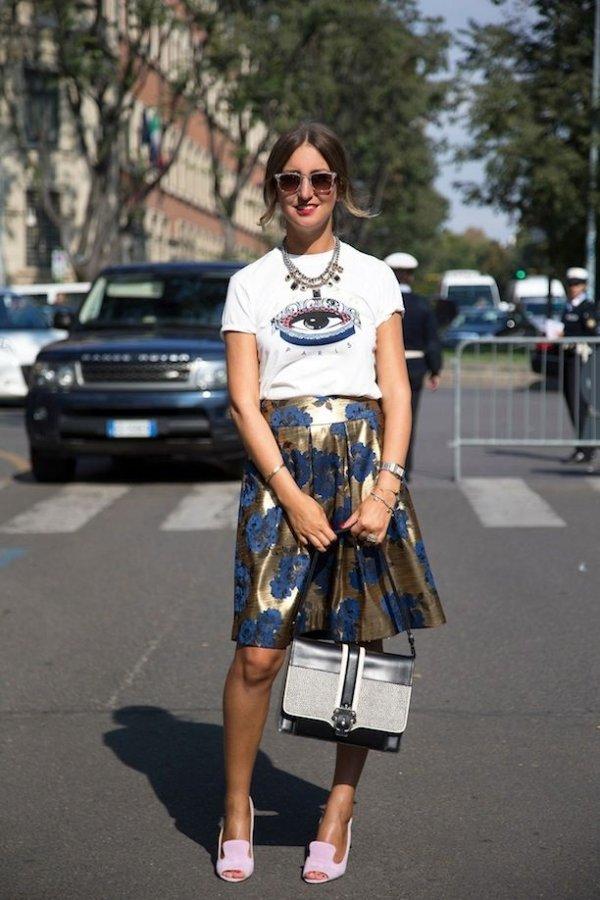 Graphic Tee and Printed Skirt