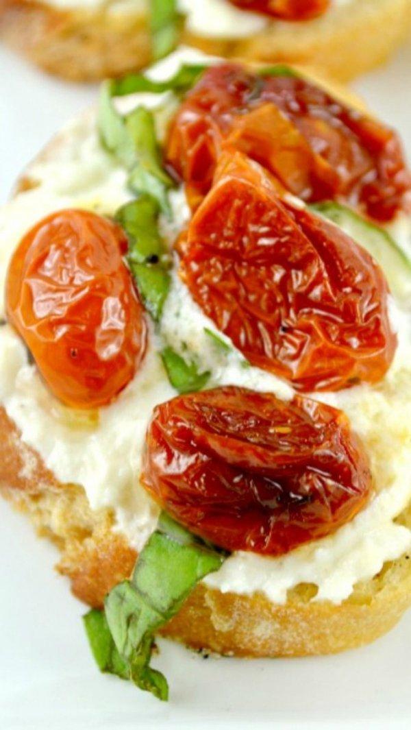 Honey Roasted Tomato and Lemon Mascarpone Goat Cheese Bruschetta