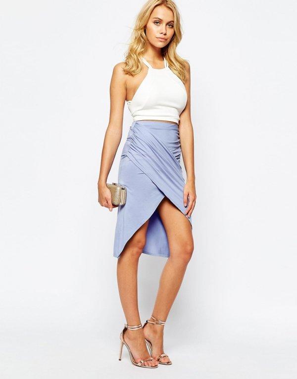 Boohoo Warp Asymmetric Wrap Skirt