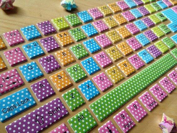 Rainbow Polka Dot Keyboard Stickers