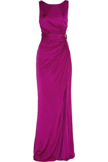 Roberto Cavalli Ruched Silk-Jersey Gown