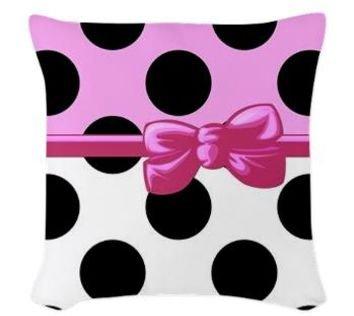 Dots and Ribbon Throw Pillow