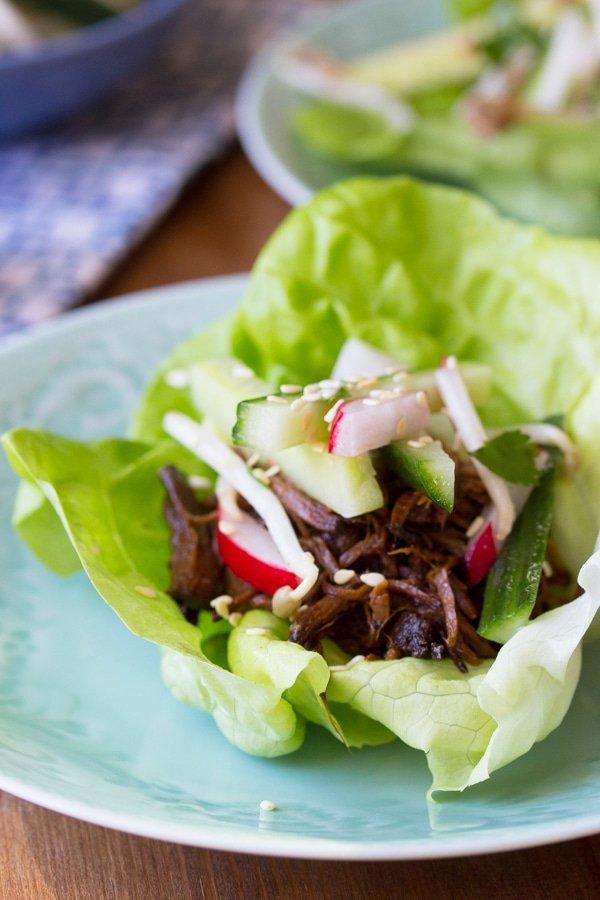 dish, leaf vegetable, food, korean taco, salad,