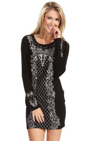 Baroque Sweater Dress - Black