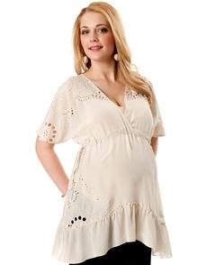 Cream Elbow Sleeve Dolman Sleeve Maternity Blouse