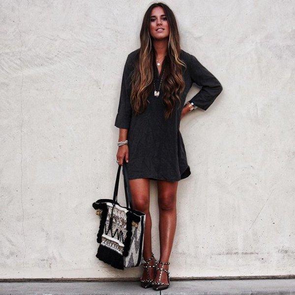 black, clothing, footwear, lady, dress,