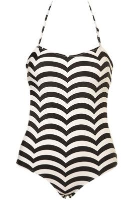 Topshop Black Scallop Stripe One Piece Swimsuit