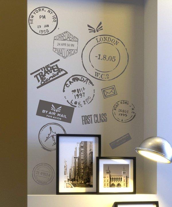 Travel Stamp Vinyl Wall Decals