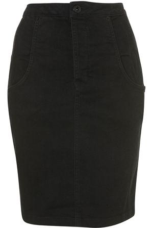 Moto Black Denim Seamed High Waisted Skirt