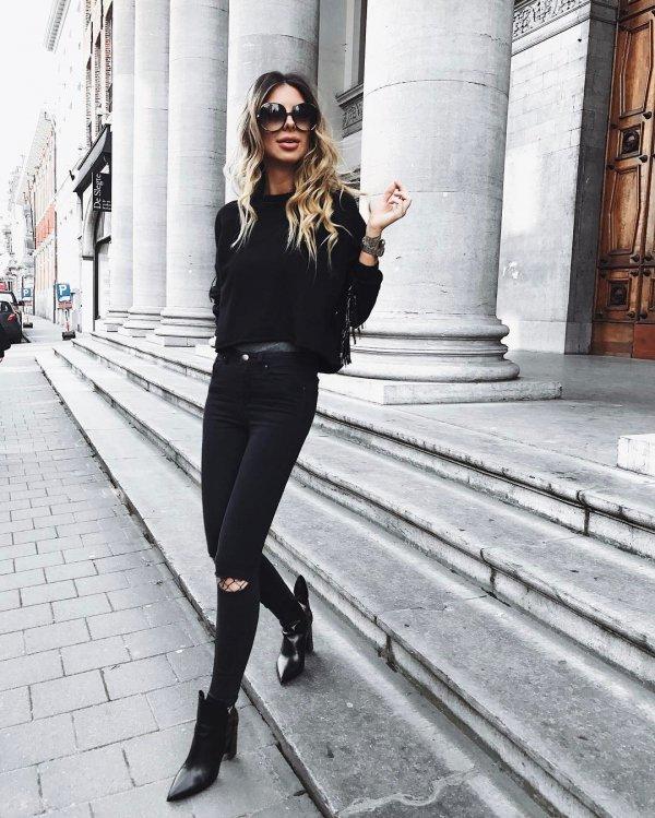 black, clothing, footwear, road, winter,