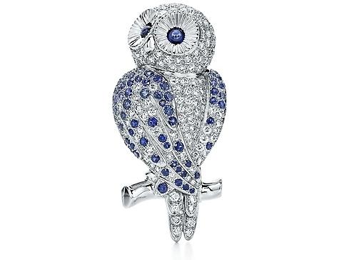 Sapphire and Diamond Owl Brooch