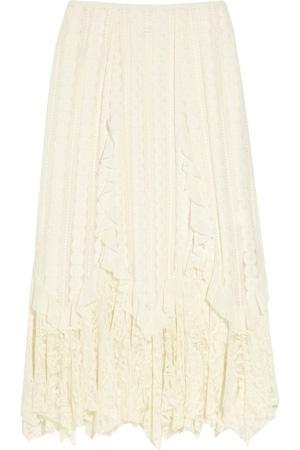 Anna Sui Ruffled Lace Midi Skirt