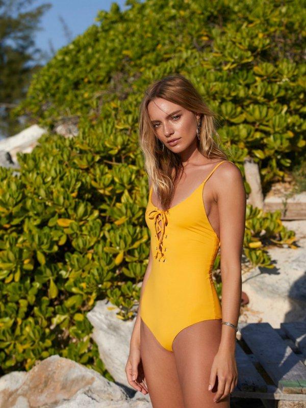 clothing, yellow, swimwear, beauty, blond,