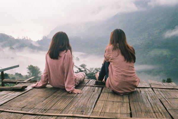 girl, sky, sitting, friendship, vacation,