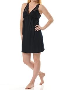 Sleeveless Deep V-neck Lace Trim Nursing Nightgown