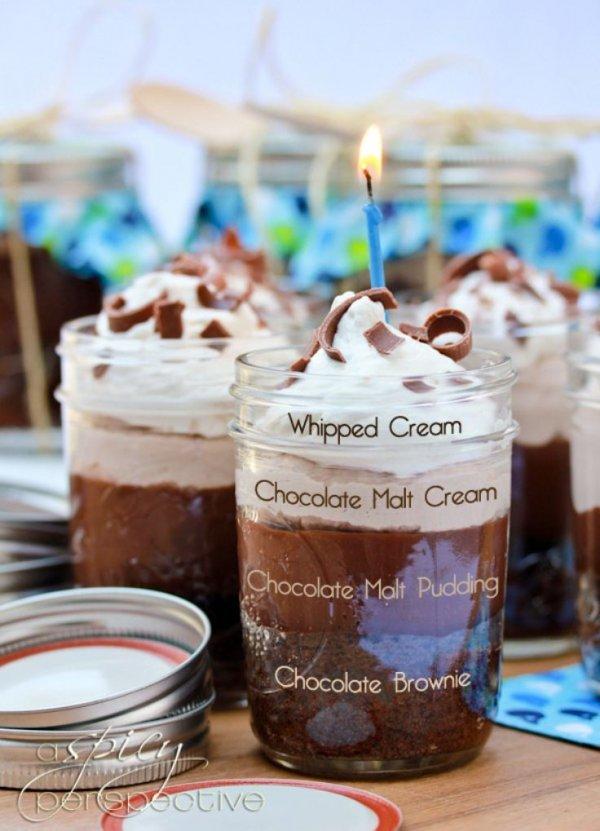 Chocolate Malt Brownie Parfait