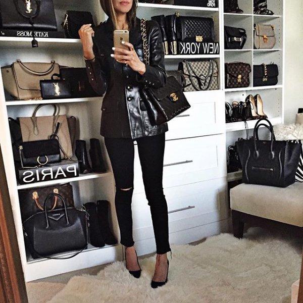 clothing, room, little black dress, leather, fashion,