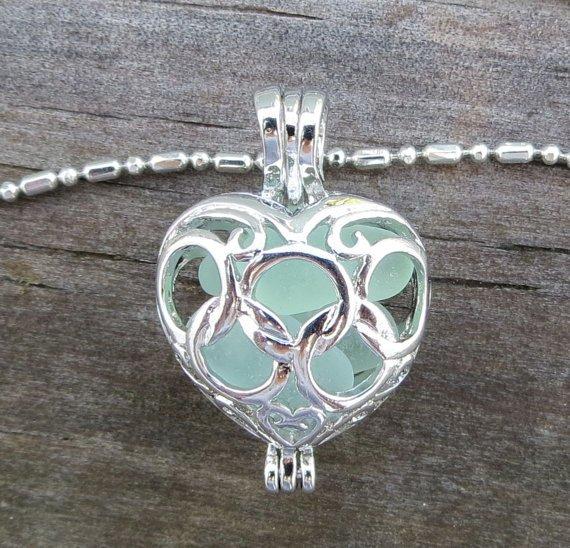 Aqua Sea Glass Heart Necklace