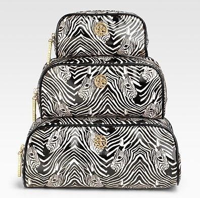 Tory Burch Three-Piece Zebra Print Cosmetic Case Set