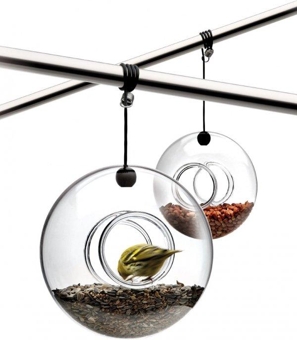Hanging Bird Feeder, Hand Blown Glass