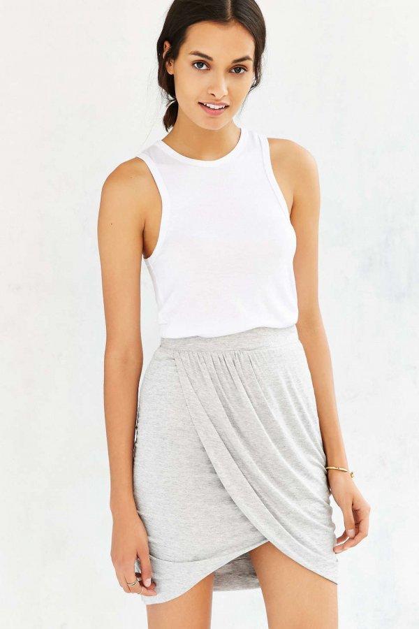 Silence + Noise Knit Wrap-Front Mini Skirt