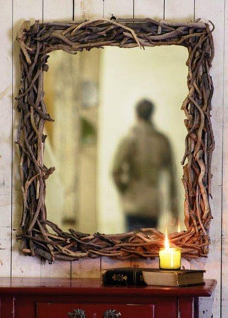 Woven Twig Mirror