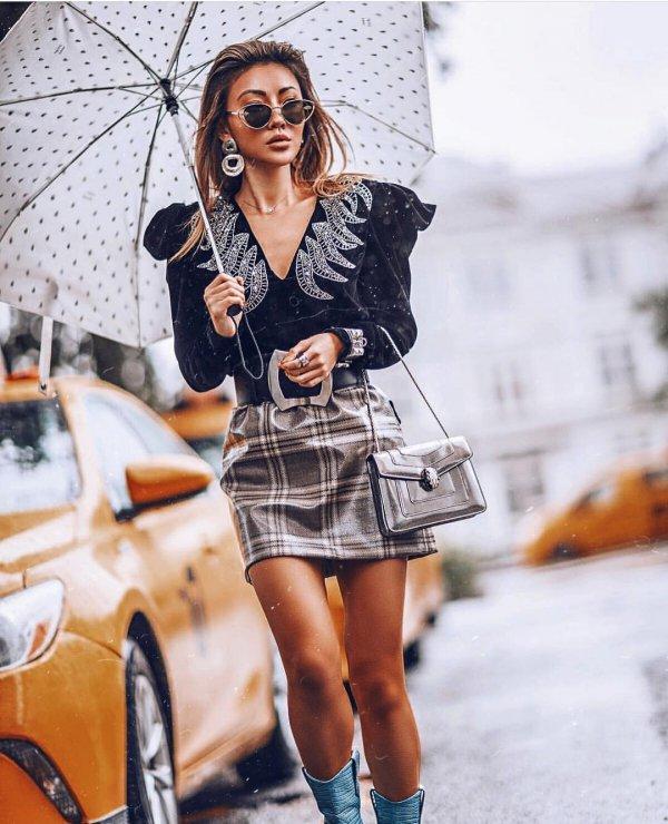 Clothing, Street fashion, Fashion, Plaid, Fashion model,
