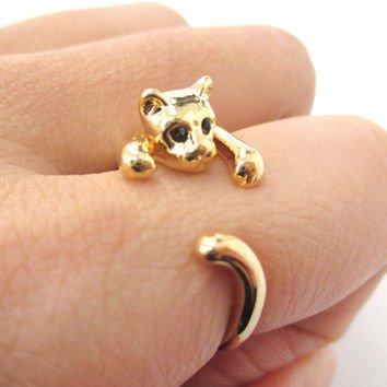 Cat Shaped Animal Wrap around Ring