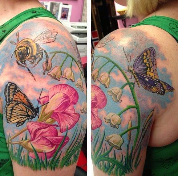 Butterflies, Flowers, Bees