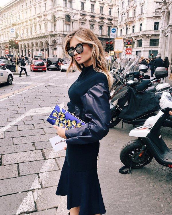 clothing, black, blue, dress, lady,