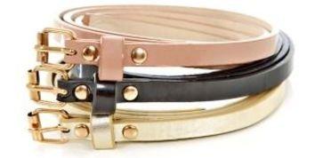 Inspire 3 Pack Pink Black and Gold Super Skinny Belts