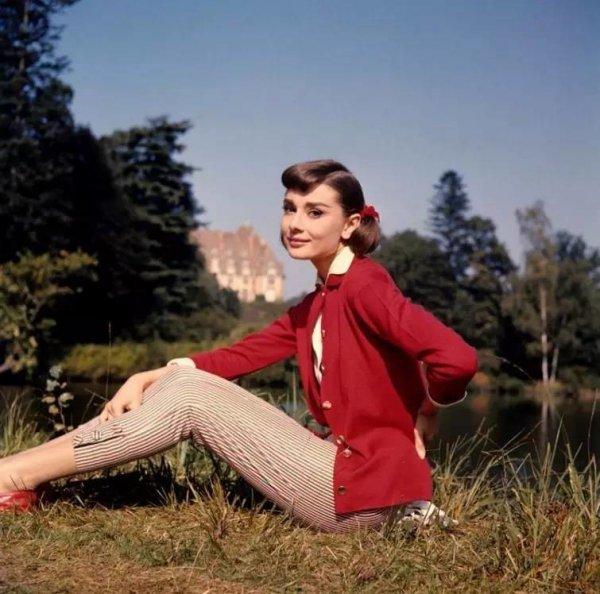 red, outerwear, shoulder, grass, girl,