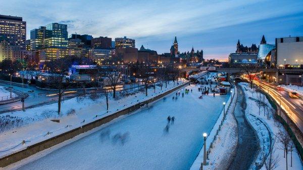 Skating on Ottawa's Natural Ice-Rink, Canada