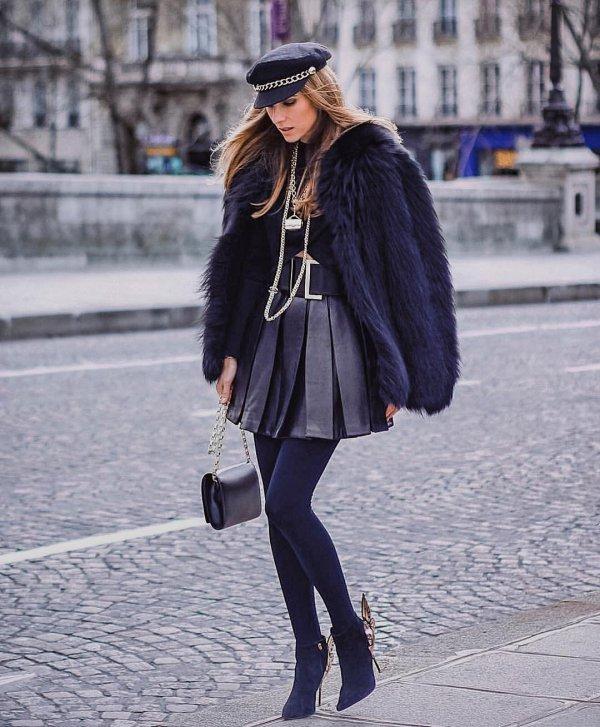 Clothing, Street fashion, Fur, Black, Tights,